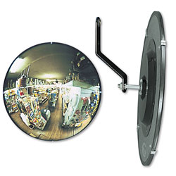 "See All Round 160° Convex Security Mirror, Adjustable Angle, 18"" for Areas to 15 Sq. Ft."