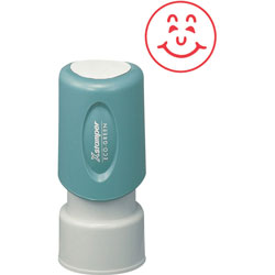 "Shachihata. U.S.A. Happy Face Round Ink Stamp, 5/8"", Red"