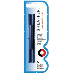 Sheaffer Pen Skrip Ink Cartridge, 5/PK, Blue/Black