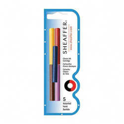 Sheaffer Pen Skrip Ink Cartridges, 5/PK, Black, Red, Blue, Green, Purple