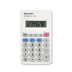 Sharp EL233SB Pocket Calculator, Rubber Keys, Battery, 8 Digit LCD Display