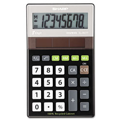 Sharp EL-R277BBK Recycled Series Handheld Calculator, 8-Digit, LCD, Black