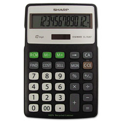 Sharp EL-R287BBK Recycled Series Calculator w/Kick-stand, 12-Digit, LCD, Black