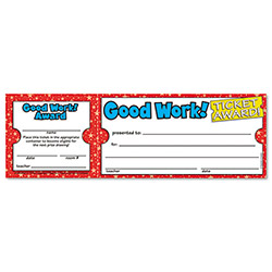 "Scholastic Good Work Ticket Awards, 8 1/2"" w x 2 3/4"" h"