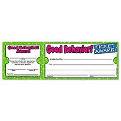 "Scholastic Good Behavior Ticket Awards, 8 1/2"" w x 2 3/4"" h"