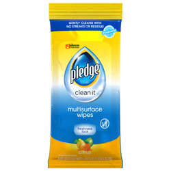Pledge Multi-Surface Cleaner Wet Wipes, Cloth, 7 x 10, 25/Pack, 12/Carton