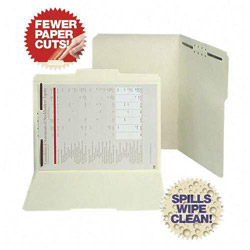 S And J Paper / Gussco Folders with 1 Fastener, Letter, 1/3 Cut, Assorted, 50/Box