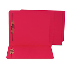 S And J Paper / Gussco Colored Reinforced End Tab File Folders with Fasteners, 11 pt. Stock, Red
