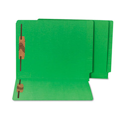 S And J Paper / Gussco Colored Reinforced End Tab File Folders with Fasteners, 11 pt. Stock, Green