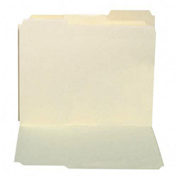 Gussco Manufacturing Archival File Folders, Letter, 1/3 Cut Assorted, Manila, 50/Box