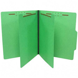 S And J Paper / Gussco Economy 6 Section Classification Folders, Letter Size, Green, 25/Box