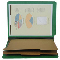 S And J Paper / Gussco Pressboard End Tab Recyc. Class. Folder, Letter, Emerald Green, 6 Sections