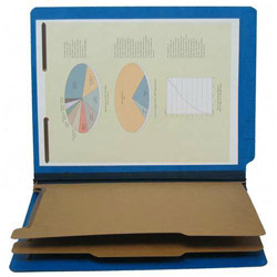 S And J Paper / Gussco Pressboard End Tab Recyc. Class. Folder, Letter, Cobalt Blue, 6 Sections
