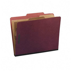 "S And J Paper / Gussco 6 Section 2 Pocket Red Pressboard Classification Folder, 2 1/4"" Exp., Letter"