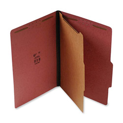 "S And J Paper / Gussco Standard Classification Folder, 4 Section, 1 1/2"" Expansion, Letter, 20/BX, Red"