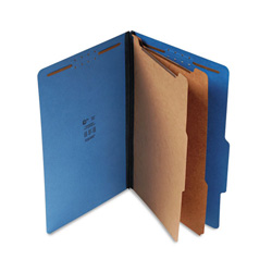 "S And J Paper / Gussco Standard Classification Folder, 6 Section, 2 1/4"" Exp, Legal, 15/BX, Cobalt Blue"