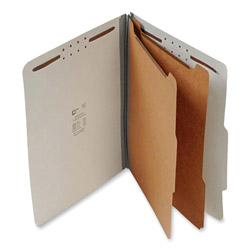 "S And J Paper / Gussco Standard Classification Folder, 6 Section, 2 1/4"" Expansion, Legal, 15/BX, Gray"