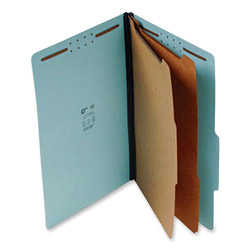 "S And J Paper / Gussco Standard Classification Folder, 6 Section, 2 1/4"" Expansion, Legal, 15/BX, Blue"