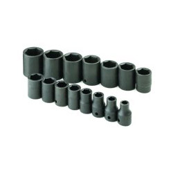 "S K Hand Tools 15 Piece 1/2"" Drive SAE Standard 6 Point Impact Socket Set"