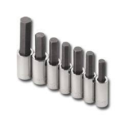 "S K Hand Tools 7 Piece 1/2"" Drive Metric Hex Bit Socket Set"