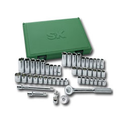 "S K Hand Tools 49 Piece 3/8"" Drive 6 Point Fractional/Metric Socket Set with Universal Joint"
