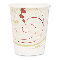 Solo 10 Oz Hot Paper Cups, Symphony Design, Case of 1000