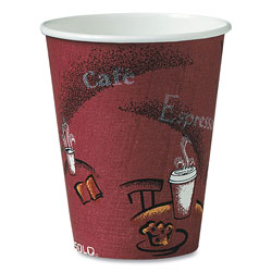 Solo 8 Oz Hot Paper Cups, Bistro Design, Case of 1000