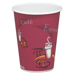 Solo 8 Oz Hot Paper Cups, Bistro Design, Pack of 50