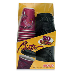 Solo 12 Oz Hot Paper Cups, Bistro Design, Pack of 50