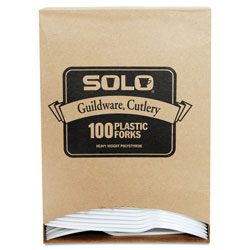 Solo Guildware Extra Heavy Weight Plastic Forks, White, 100 per Box