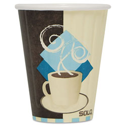 Solo 8 Oz Hot Paper Cups, Tuscan Design, Pack of 50