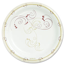 "Solo Disposable 8.5"" Paper Plates, Symphony Design, Carton of 500"