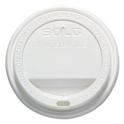 Solo Traveler Drink-Thru Lid, 12-16oz Hot Cups, White, 300/Pack, 6 Packs/Carton