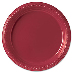 "Solo Disposable 9"" Plastic Plates, Red, Pack of 25"