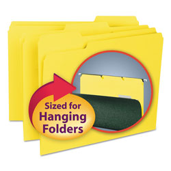 "Smead Recycled Interior File Folders, 3/4"" Capacity, Letter, 1/3 Cut, Yellow, 100/Bx"