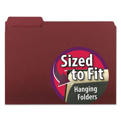 "Smead Recycled Interior File Folders, 3/4"" Capacity, Letter, 1/3 Cut, Maroon, 100/Bx"