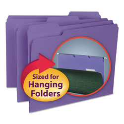 "Smead Recycled Interior File Folders, 3/4"" Capacity, Letter, 1/3 Cut, Purple, 100/Bx"