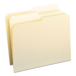 Smead Manila File Folders, Recycled, Single Ply Top, 1/2 Cut, Letter, 100/Box