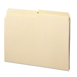 Smead Manila File Folders, Recycled, Double Ply Top, 1/2 Cut/Asst., Letter, 100/Box
