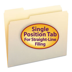 Smead Manila File Folders, Single Ply Top, 1/3 Cut, 1st Position, Letter, 100/Box