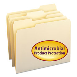 Smead Antimicrobial Top Tab File Folders, Letter Size, 1/3 Cut, Manila, 100 Per Box