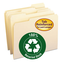 Smead Recycled Two Ply Top Tab File Folders, Letter Size, 1/3 Cut, 100/Box