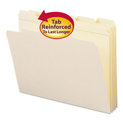 Smead Manila File Folders, Recycled, Double Ply Top, 1/5 Cut, Letter, 100/Box