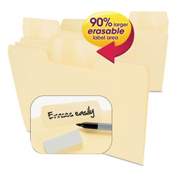 Smead Erasable SuperTab File Folders, Letter, Manila, 24/Set