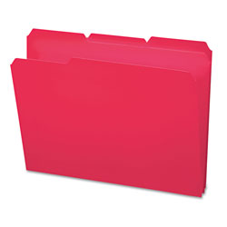 Smead Top Tab Waterproof Poly File Folders, 1/3 Tab, Letter Size, Red, 24/Box