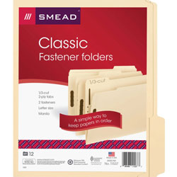 Smead Folder, 2 Fasteners, 1/3 Pos, Letter, 12/Pack, Manila