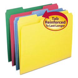 Smead Recycled File Folders, Double Pli Top, 1/3 Cut, Letter, Assorted Colors, 12/Pack