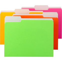 Smead File Folder, Letter, 1/3 Tab, Neon Colors