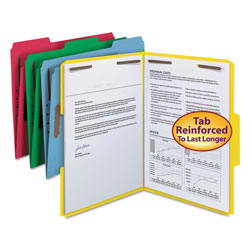 Smead Top Tab Assorted Color Fastener Folders, Letter Size, 50/Box