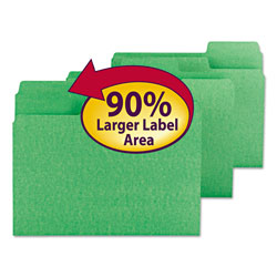 Smead Colored File Folders, 1/3 Cut, 11 Point Stock, Letter, Green